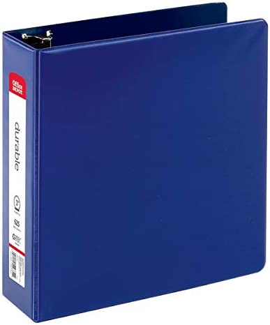 Office Depot Nonstick Round-Ring Binder, 3in. Rings, 100% Recycled, Blue, OD02830