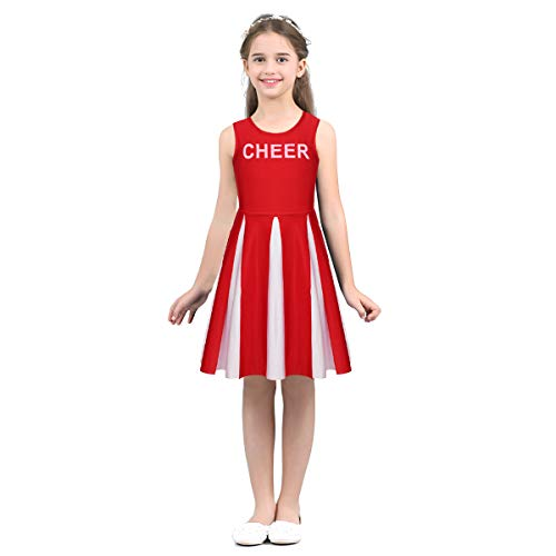 zdhoor Kids Girls Sleeveless Cheerleading Costume School Uniform Dance Dresses Fancy Dress Outfits Sportswear Red 6]()