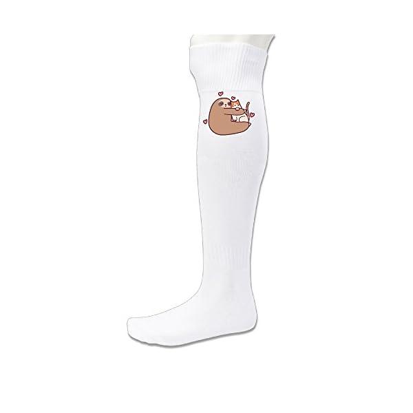 Adult Unisex Sloth Loves Cat Football Athletic Sock (2 Colors) -