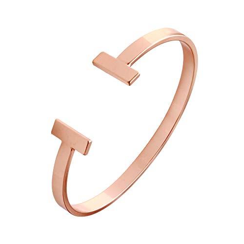 SENFAI Simple Double T Cuff Bracelet/Jewelry Set for Women (Thin Bracelet, Rose-Gold-Plated-Brass)