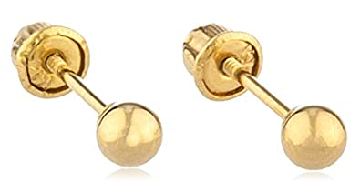 6bf00242e 14k Gold Ball Earring Studs with Bolita Screw Back (yellow-gold, 3  Millimeters