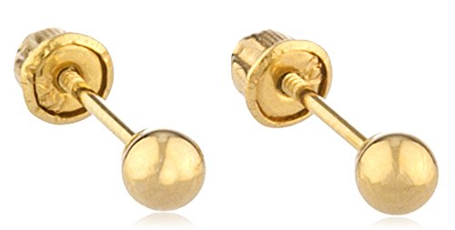 g Studs with Bolita Screw Back (yellow-gold, 3 Millimeters) (GO-722) ()