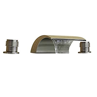 Waterfall Bathtub Faucet With Double Handles Three Holes Bathroom Tub Faucet,Included with Ceramic Valve,Brushed Nickel Finish