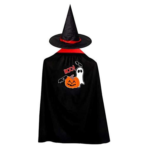 Halloween Children Costume Boo Halloween Wizard Witch Cloak Cape Robe And Hat Set -