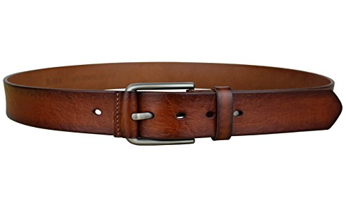 Bullko Men's Casual Genuine Leather Dress Belt For Jeans 1 1/2 Brown 38-40inch by Bullko (Image #3)