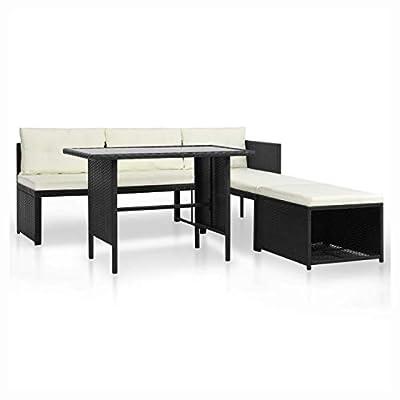HomyDelight Outdoor Furniture Set, 4 Piece Garden Lounge Set Poly Rattan Black