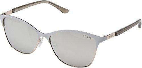 GUESS Women's GF6033 White/Silver/Smoke Mirror Lens One - Women Guess Sunglasses