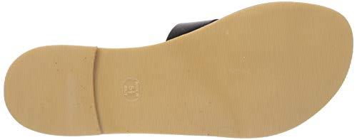 STEVEN by Steve Madden Women's Greece Flat Sandal, Black Leather, 6 M US