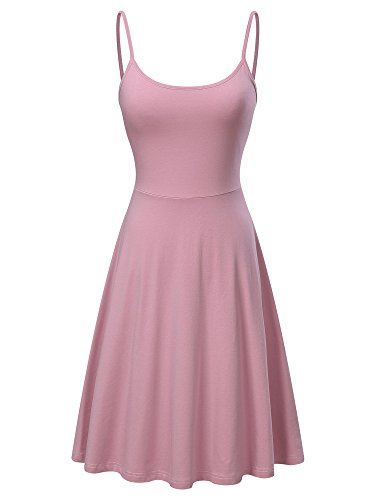 Pink A-line Spaghetti - KIRA Women's Sleeveless Adjustable Strappy Flared Midi Skater Dress (Large, Pink)