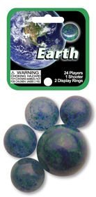 - Mega Marbles - EARTH MARBLES NET (1 Shooter Marble & 24 Player Marbles)