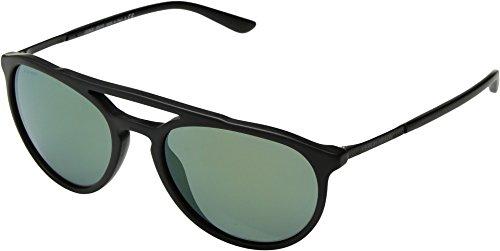 Giorgio Armani Mens Sunglasses Black Matte/Green Acetate - Non-Polarized - 55mm