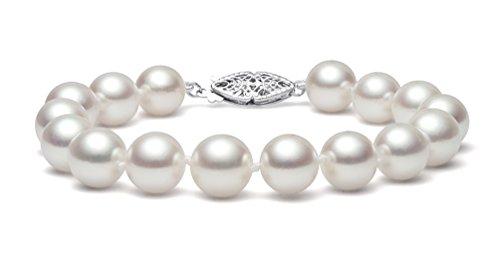 14K Or Blanc Perle de culture d'eau douce blanc bracelet de qualité AAA (6,5-7mm), 20,3cm