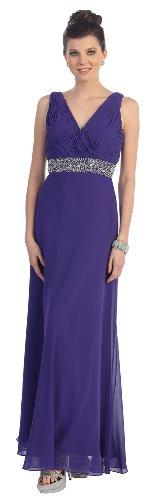 Beaded chiffon evening gown MQ969-PURPLE-16