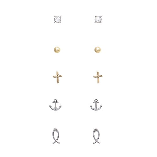 Rosemarie Collections Women's 5 Pairs Hypoallergenic Trendy Small Stud Earring Set with Cross Jesus Fish Anchor (Religious)]()