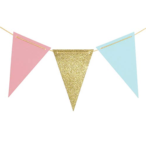 Lings Moment 10 Feet Paper Pennant Banner Triangle Garland Vintage Glitter Gold Pink Blue Flag Banner for Gender Reveal, Wedding, Baby Shower, Bridal Shower, Event & Party Supplies, 15pcs Flags