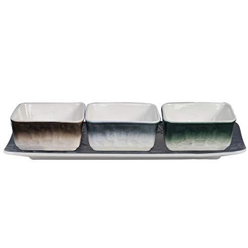 AQUIVER 5 OZ Ceramic Chip and Dip Serving Set – Porcelain Square Small Sauce Dip Bowls – for Sauce, Side Dish, Chips…