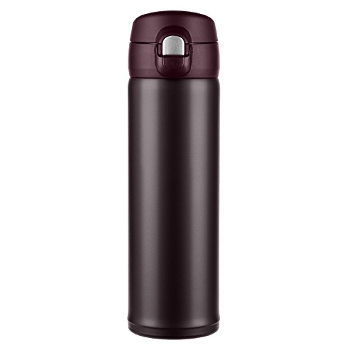 Hiwill Double Walled Vacuum Insulated Travel Coffee Mug, Stainless Steel Flask, Sports Water Bottle, One Hand Open (16OZ-[G-3] Coffee)