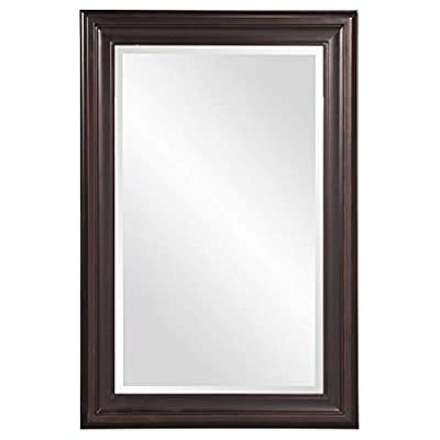 Howard Elliott George Rectangular Wood Framed Wall Vanity Mirror, 53047, Rectangular, Oil Rubbed Bronze - BEAUTIFUL FOCAL POINT - Rectangular wood framed hanging wall mirror is the perfect focal point for any entryway, bathroom, bedroom or any room in your home WOOD FRAME - The frame is made from wood with an oil rubbed bronze finish and is accented with grooves for added depth and character BEAUTIFULLY BEVELED - For added detail and interest, the mirror's edge is beautifully beveled - bathroom-mirrors, bathroom-accessories, bathroom - 31b9DNRCO1L. SS400  -