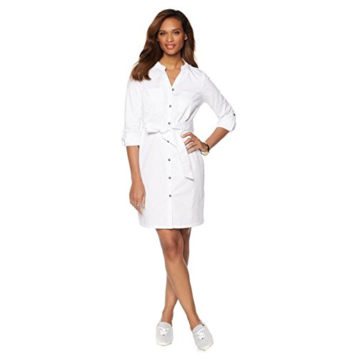 Wendy Williams Belted Stretch Denim Shirt Dress Cuffs Knit White S New - Denim Knit Dress Stretch