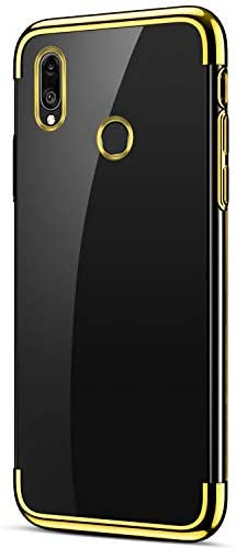 Herbests Kompatibel mit Huawei Y7 2019 Hülle Durchsichtige Schutzhülle Überzug Plating Klar Transparent Weiche Silikon Bumper Case Handytasche Backcover Anti-Kratzer Stoßfest,Gold
