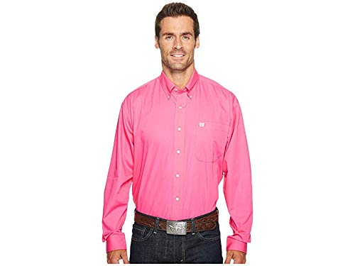 Cinch Men's Classic Fit Long Sleeve Button One Open Pocket Solid Basic Shirt, Pink, XX-Large