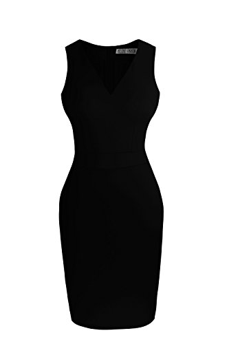 Sylvestidoso Women's Bodycon Sleeveless V-Neck Little Black Cocktail Party Dress (S, Black)