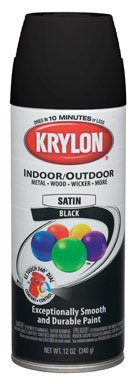 Krylon Exterior Interior Paint Spray (Krylon (5-Ball) Interior-Exterior Paint Semi-Flat Black - Lot of 6)