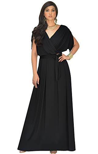KOH KOH Petite Womens Long Formal Short Sleeve Cocktail Flowy V-Neck Casual Bridesmaid Wedding Party Guest Evening Cute Maternity Work Gown Gowns Maxi Dress Dresses, Black S 4-6