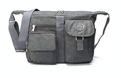 PROGLEAM Storage Bag, Men Women Casual Nylon Shoulder Handbag Travel Messenger Crossbody Tote, Grey