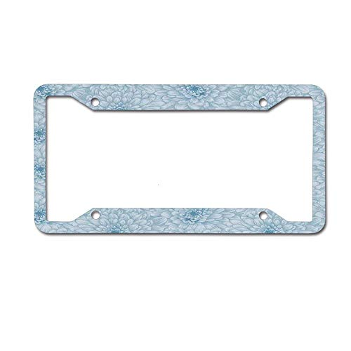 Customized Frames Girly License Plate Frame for Women/Girls, Retro Monochrome Pastel Water Cane Petals Pattern Aluminum Metal Car Tag Cover Frames