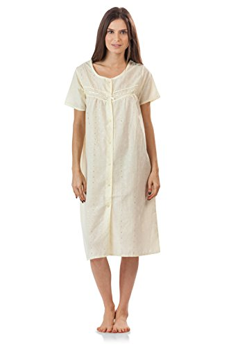 Casual Nights Women's Short Sleeve Eyelet Embroidered House Dress - Yellow - - Embroidered Chemise Womens