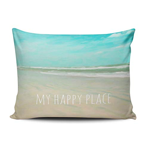 - XIUBA Pillowcases Aqua Mint and White My Happy Place Turquoise Sky Beach Scene Customizable Decorative Rectangle 12X16 Inch Boudoir Size Throw Pillow Cover Hidden Zipper One Sided Design Printed