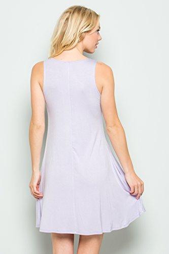 Cody Ligne Réservoir Tunique Sans Manches Swing Casual Femmes Top Robes Avec Des Poches C2917s Lavande Solide