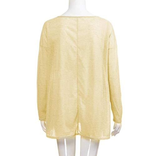 Femmes Tops Chemise Femme Solid Longues Casual Loose Beige Slash Mode Shirt Manches Blouse Cou Trydoit 7a54Pwqx