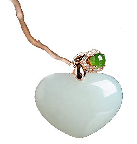 - MPH-jewelry Natural White Nephrite Hetian Jade Pendant Carving - Heart-Shaped