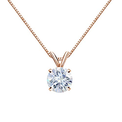 Diamond Wish 14K Rose Gold Round Moissanite Solitaire Pendant 8.5mm 2 TGW in 4-Prong Basket (White) 18