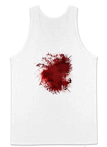 Pop Threads Blood Splattered Horror Bloody Halloween Costume White 2XL Mens Tank Top ()