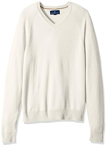 (BUTTONED DOWN Men's 100% Premium Cashmere V-Neck Sweater, Off/White, XX-Large)