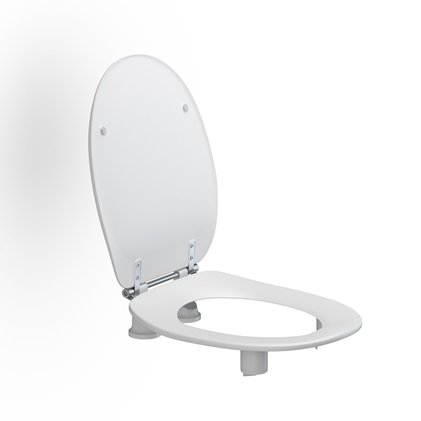 Pressalit - Toilet Seat Dania With Cover, 50 MM Raised With Stabilising Buffers And Special Hinges Adapted To Raised Toilet Seat. Incl. Splash Guard.