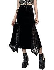 Meisjes Y2K lange rok hoge taille vintage bloemenprint effen kanten patchwork slim fit midirok, Zwart kant, S