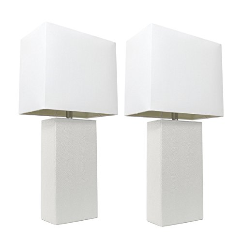 Elegant Designs Modern Table Lamp in White Leather | Set of 2 by Elegant Designs