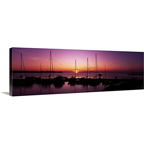 (Silhouette of Boats in The sea, Egg Harbor, Door County, Wisconsin Canvas Wall Art Print, 36