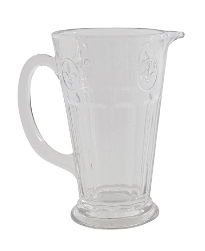 Creative Co-op DA5850 Highball Soda-Lime Glass Tumbler with Fleur De Lis, Clear