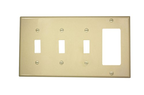 Leviton Decora Nylon 3 Gang - Leviton 80732-I 4-Gang 3-Toggle 1-Decora/GFCI Device Combination Wallplate, Standard Size, Thermoplastic Nylon, Device Mount, Ivory