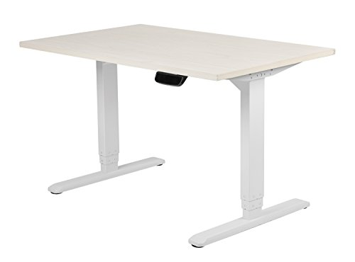 Diamond Ergo Electronic PRO Height Adjustable Sit Standing 2 Motors Desk , with Auto stop function and Cable Management Rack-White Frame and 60