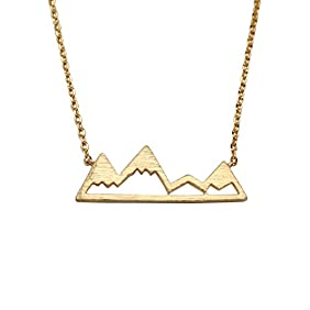 Gold Mountain Top Necklace Snowy Mountain Pendant Adventure Hiking Jewelry