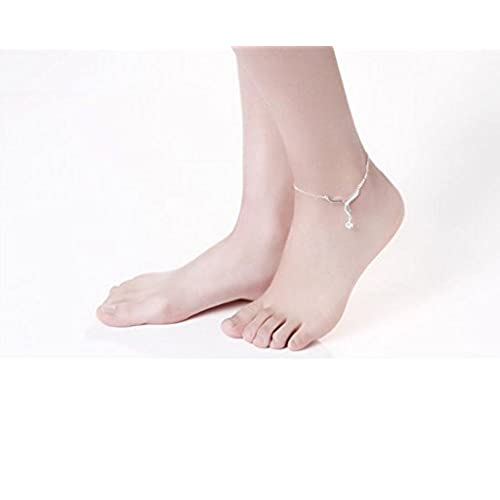 KnBoB Fashion Anklet Women Silver Plated with Pendant Love Cubic Zirconia Barefoot Foot Chain Silver
