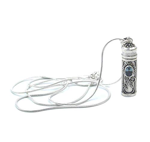 Sterling Silver Perfume Bottle Necklace, Sterling Cremation Ash Container, Perfume Bottle Necklace ()