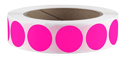 "1"" Fluorescent Pink Color-Code Dot Labels on Cores - Permanent Adhesive, 1.00 inch - 1,000 Stickers per Roll"
