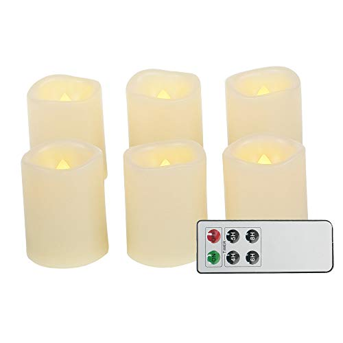 Battery Operated Powered Flameless LED Tea Lights with Remote Realistic Flickering Electric Fake Tealight Votive Candles for Home Décor Party Wedding Decorations 6 Pack Long Lasting Batteries Included ()